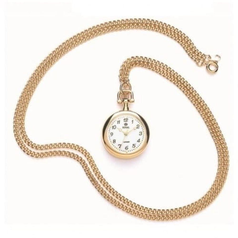Pvd Gold Plated Open Face Quartz Pendant Necklace Watch