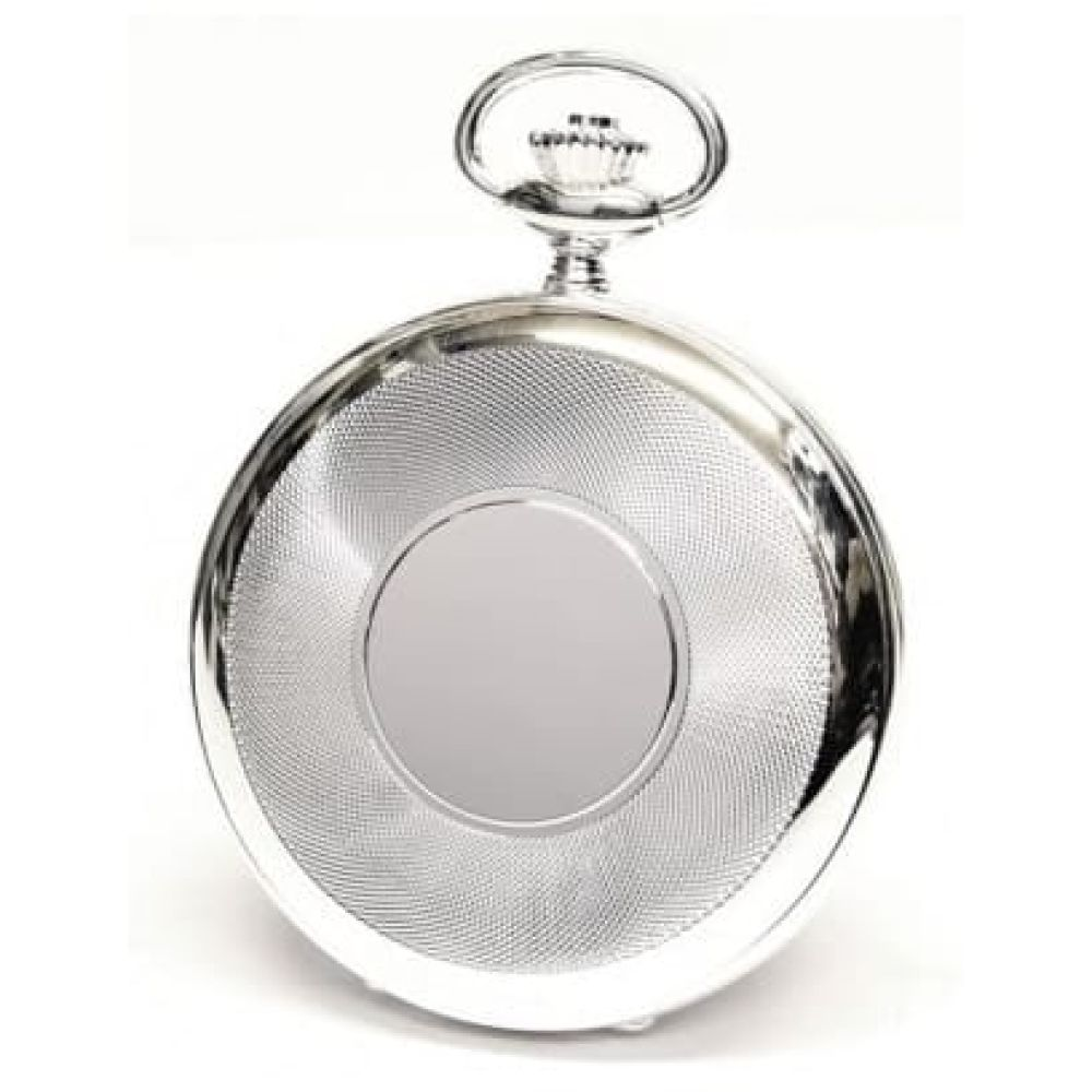 Half Hunter Sterling Silver Skeleton Mechanical Pocket Watch