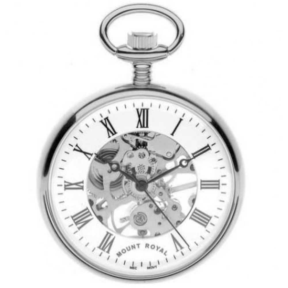 Chrome Plated Swiss Mechanical Open Face Skeleton Pocket Watch with Roman Indexes