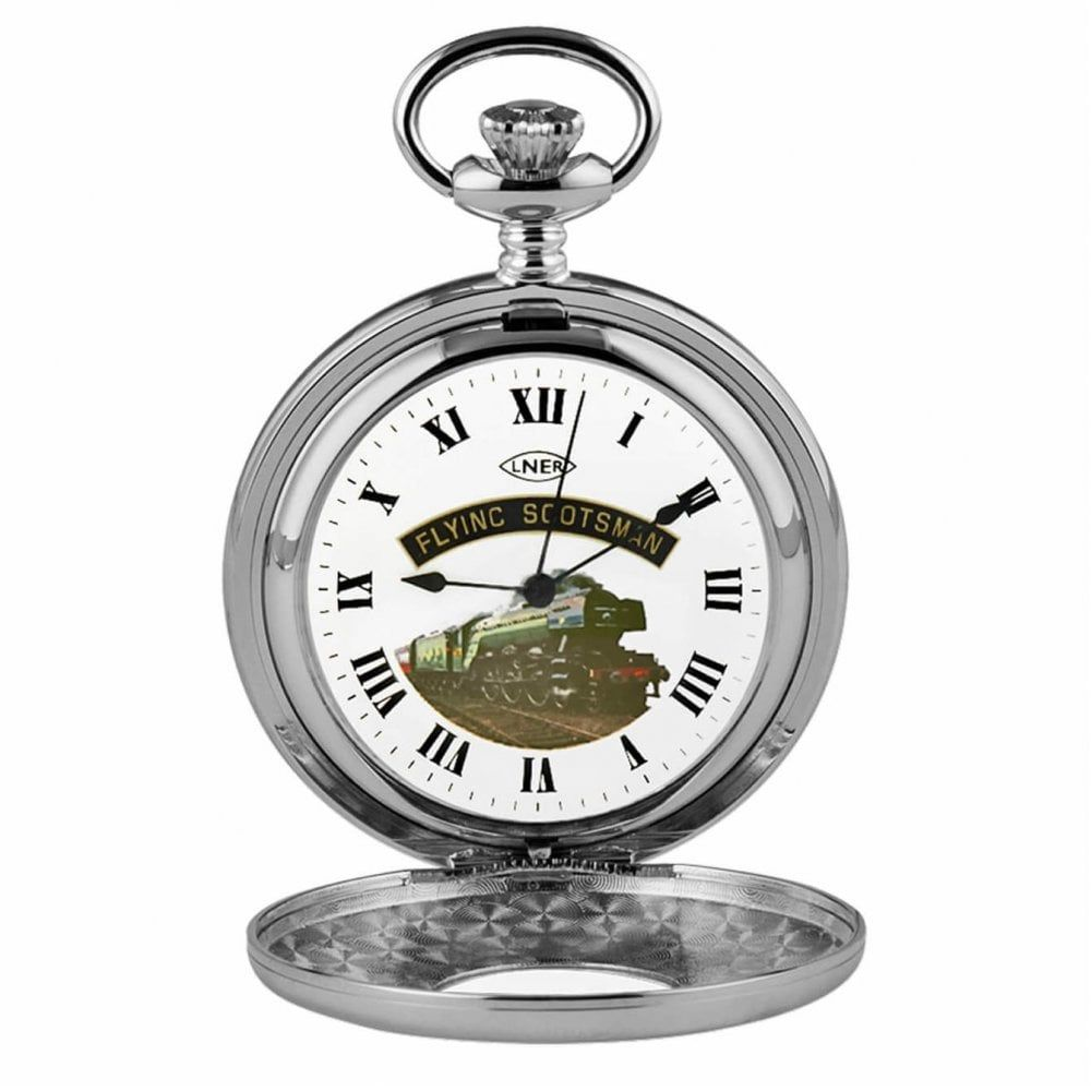 Stainless Steel Flying Scotsman Half Hunter Pocket Watch