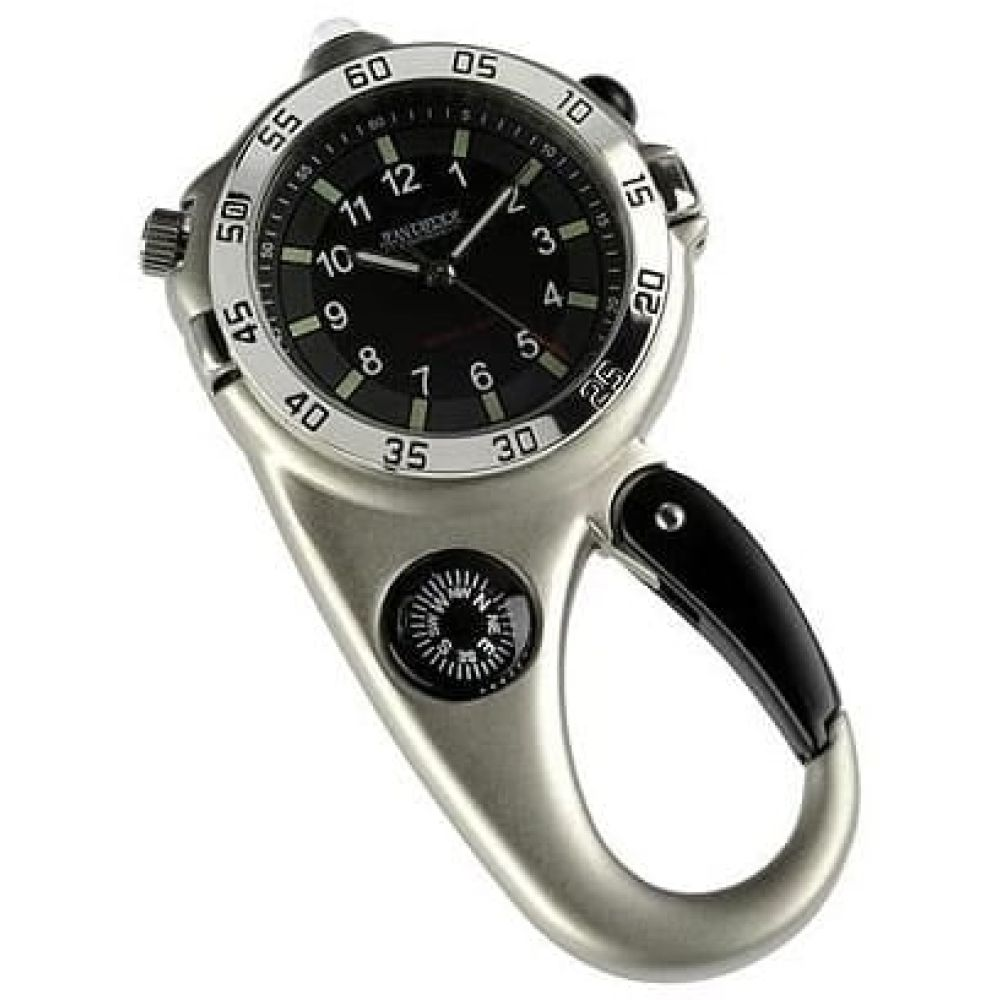 Carabiner Stainless Steel Compass Clip Watch