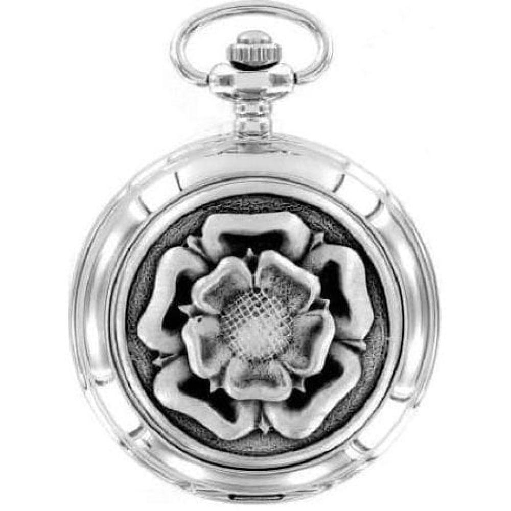 English Rose Chrome/Pewter Quartz Full Hunter Pocket Watch