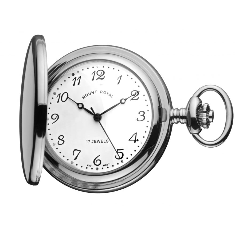 Chrome Polished 17 Jewel Full Hunter Mechanical Pocket Watch With Arabic Indexes
