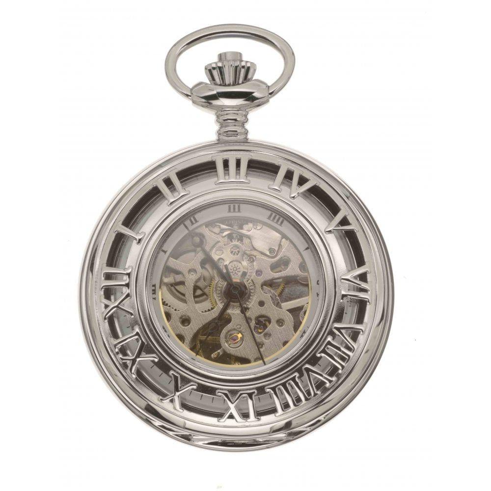 Half Hunter Chrome Polished Mechanical Pocket Watch With Roman Indexes