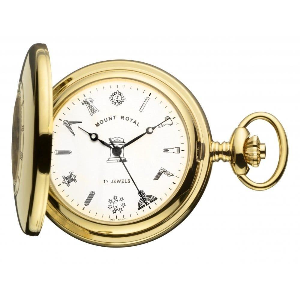 Masonic Gold Toned 17 Jewel Mechanical Half Hunter Pocket Watch
