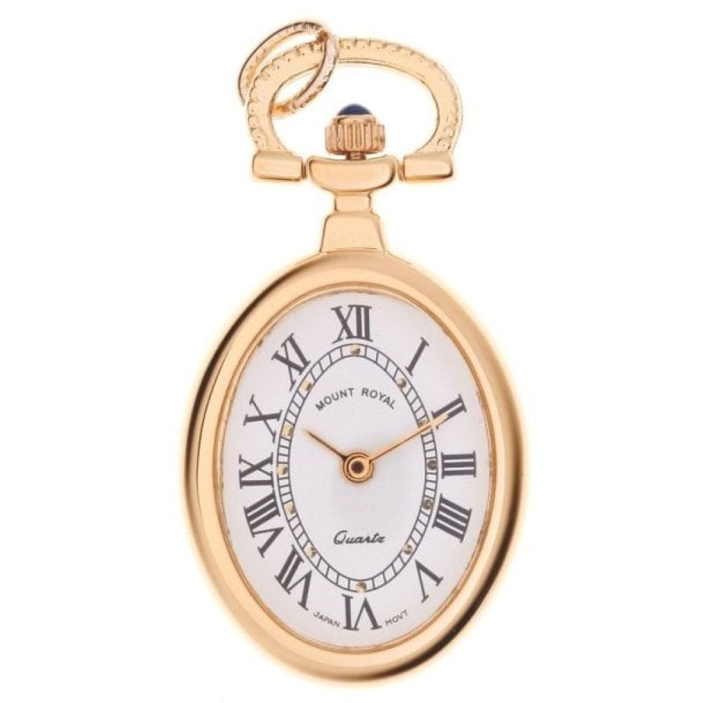 Gold Tone Open Face Quartz Oval Pendant Necklace Watch With Roman Indexes