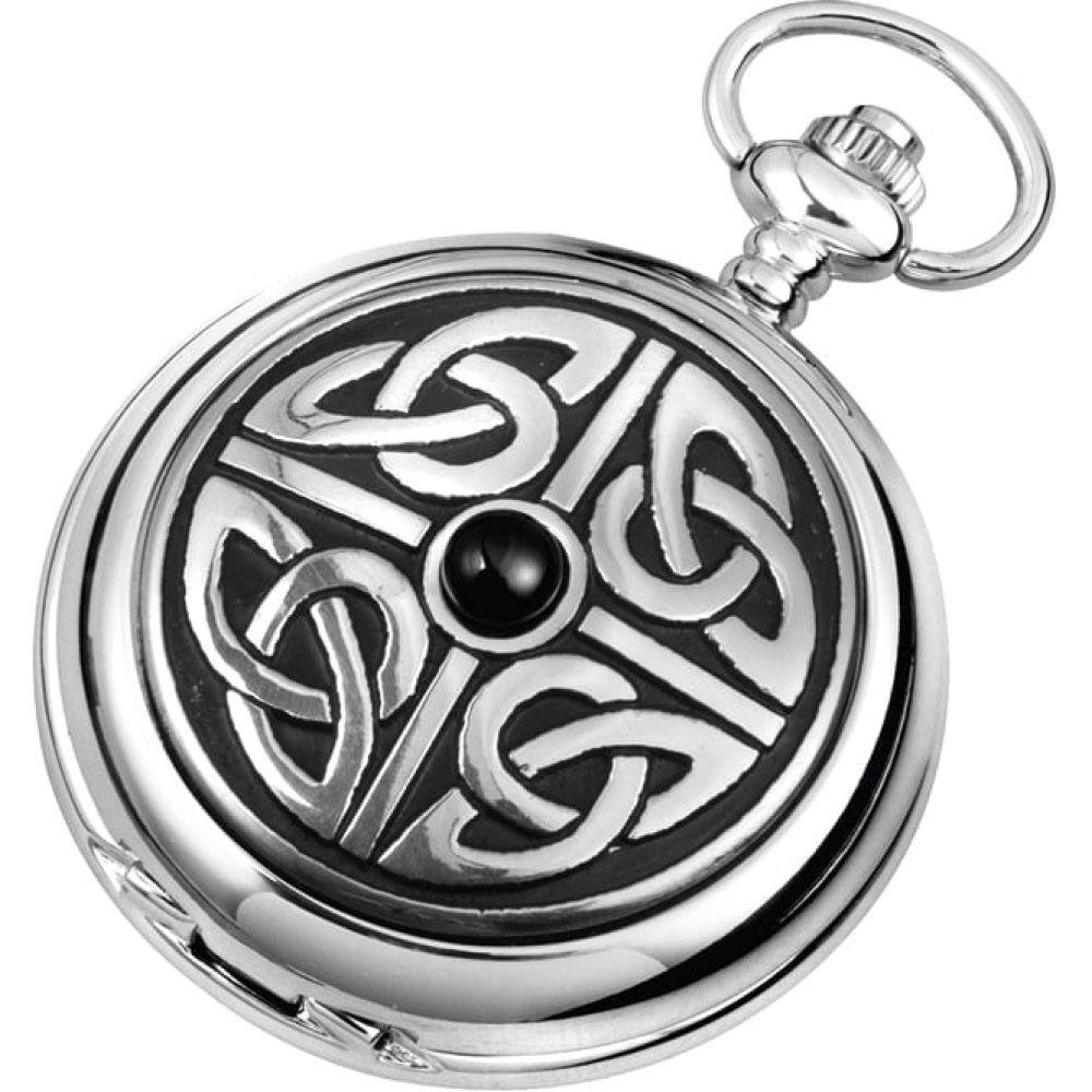 Chrome Double Hunter Celtic Mechanical Pocket Watch