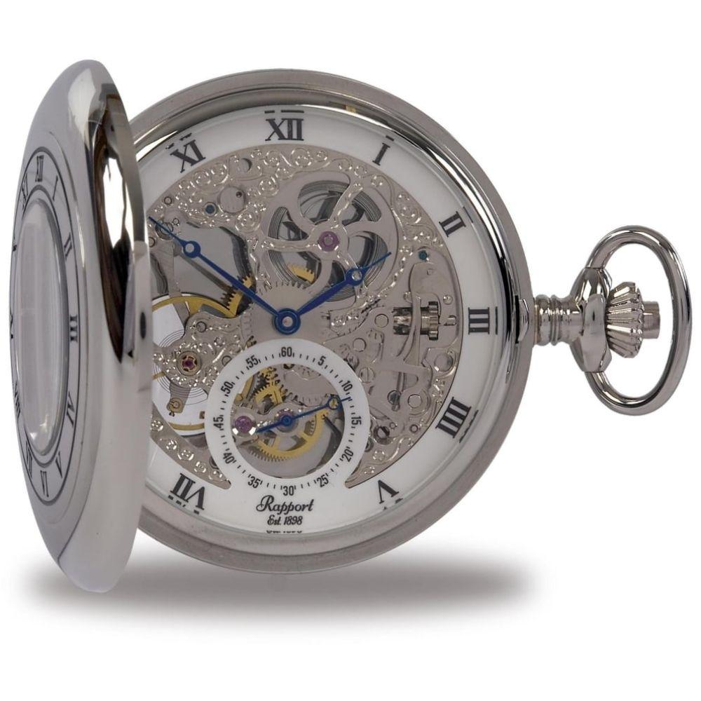 Silver Tone Double Half Hunter Mechanical Pocket Watch