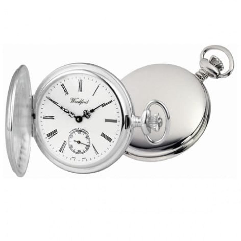 Swiss Sterling Silver Mechanical Pocket Watch Including Chain