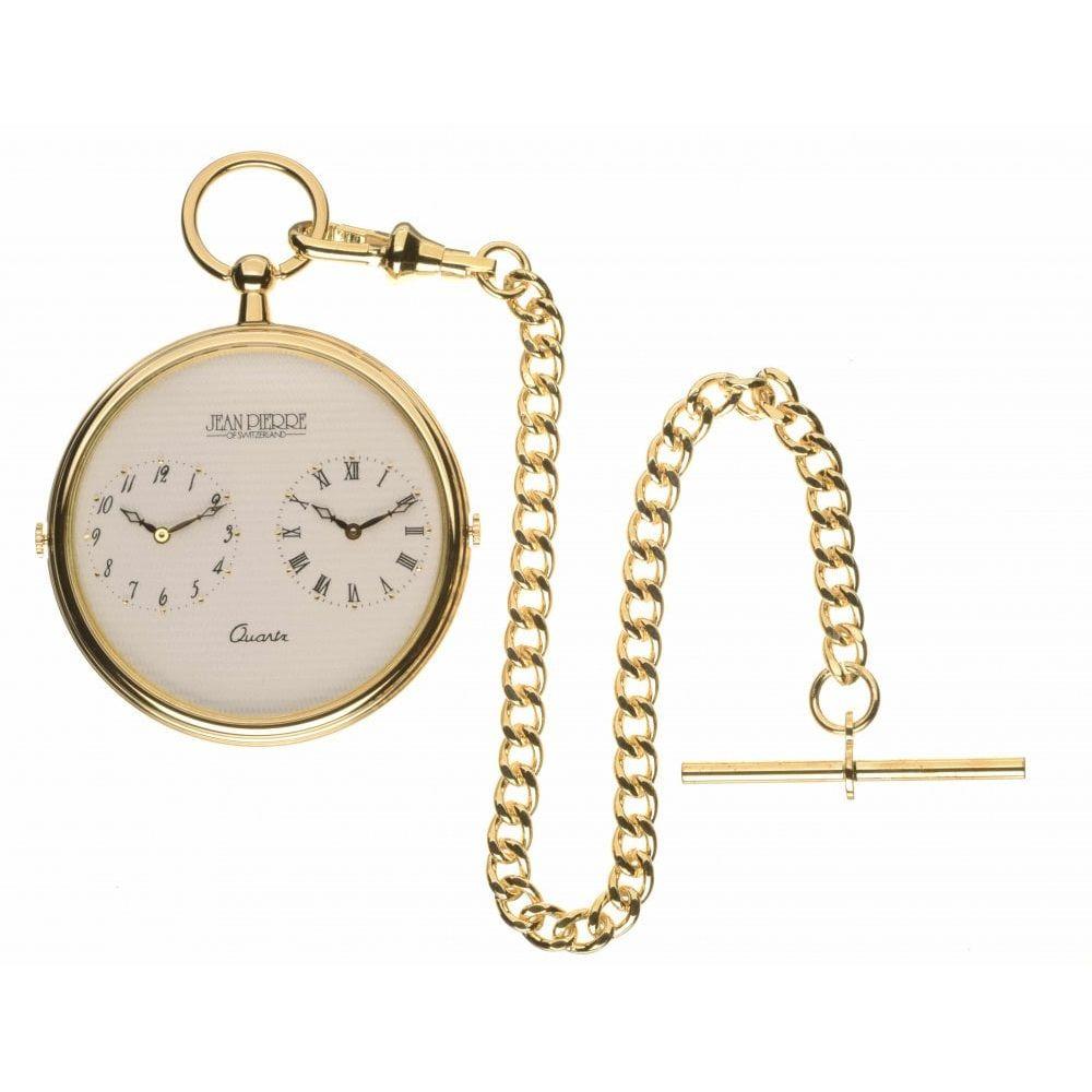 Gold Toned Dual Time Slim Quartz Pocket Watch