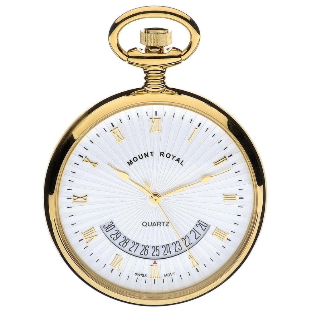 Swiss Quartz Open Face Gold Plated Pocket Watch