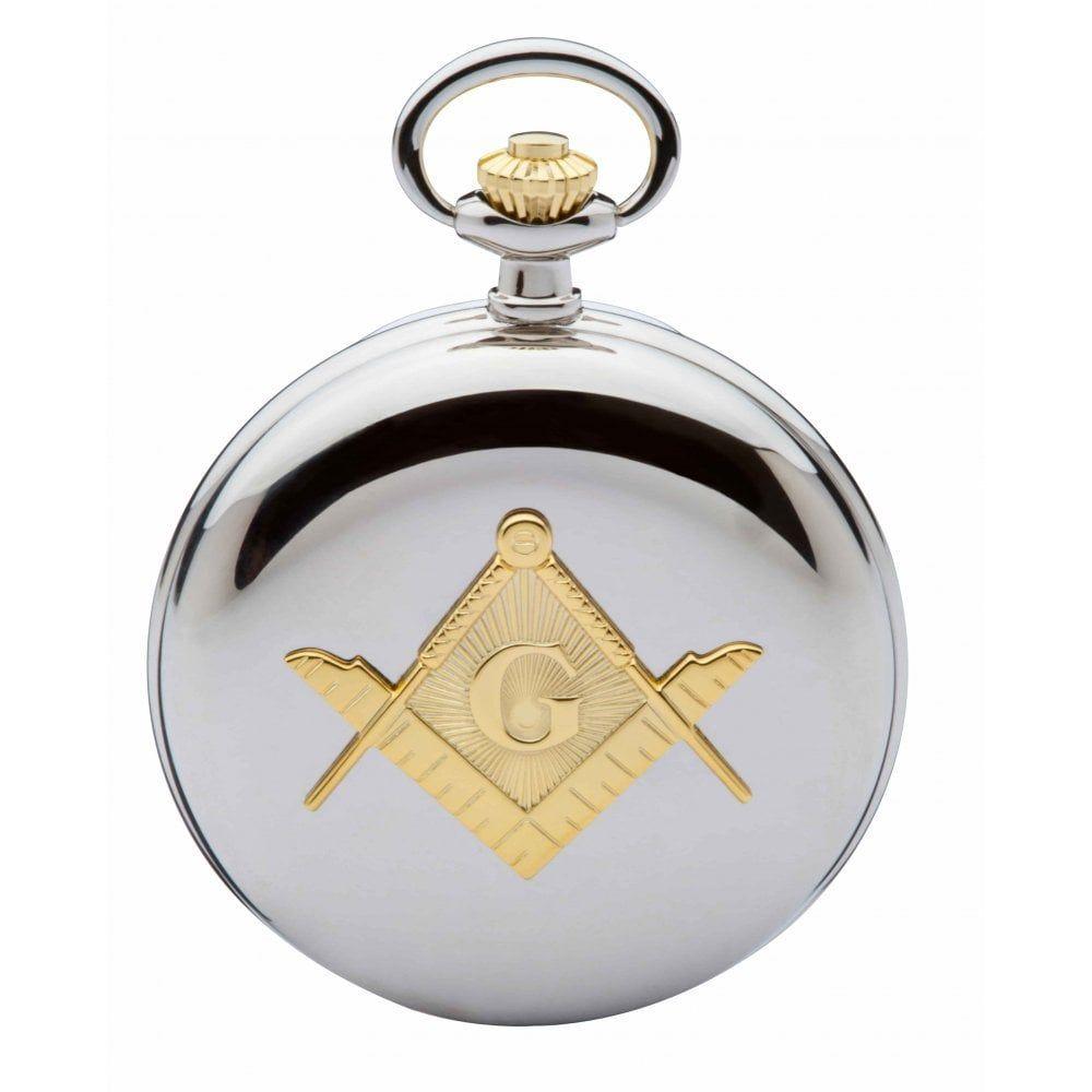 Masonic Compass Two Tone Full Hunter Quartz Pocket Watch
