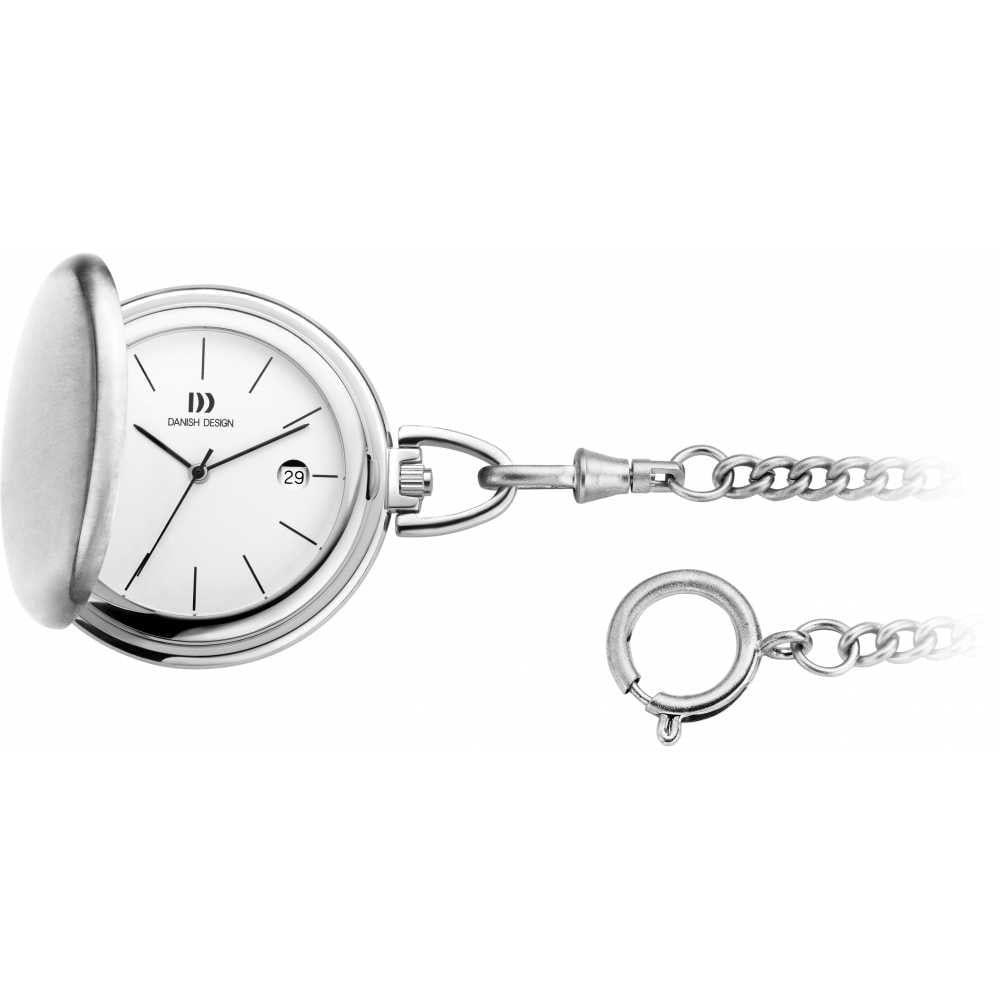 Brushed Chrome Full Hunter Pocket Watch