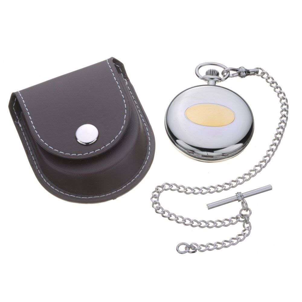 Two Tone Pocket Watch And Leather Case