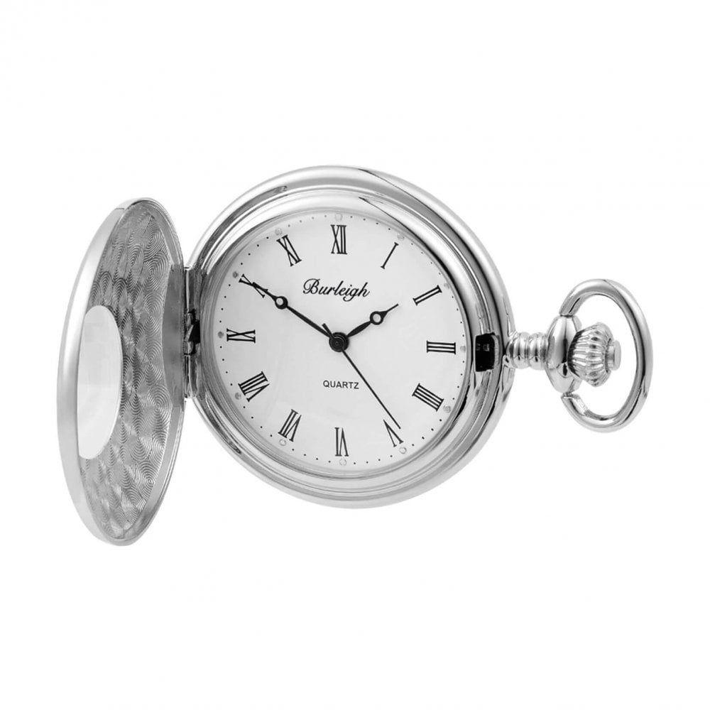 Gents Half Hunter  Silver Tone Pocket Watch