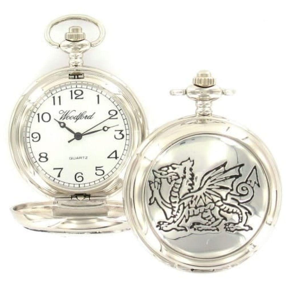 Pewter Welsh Dragon Quartz Full Hunter Pocket Watch