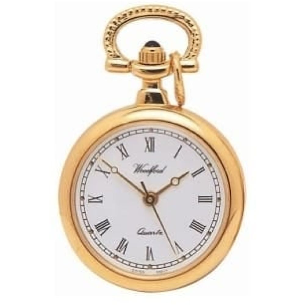 Gold Plated Swiss Quartz Open Face Pendant Necklace Watch