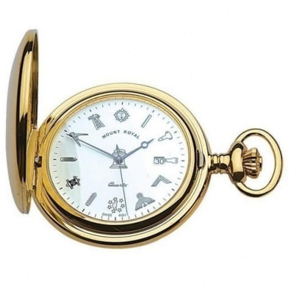 Gold Tone Full Hunter Swiss  Quartz Pocket Watch With Masonic Dial