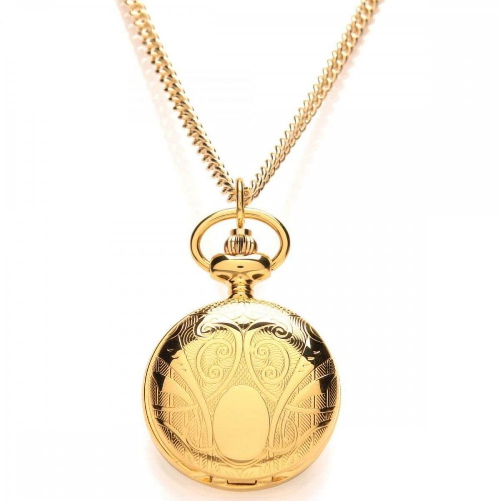 Ladies Patterned Gold Plated Roman Numeral Full Hunter Pendant Necklace Watch