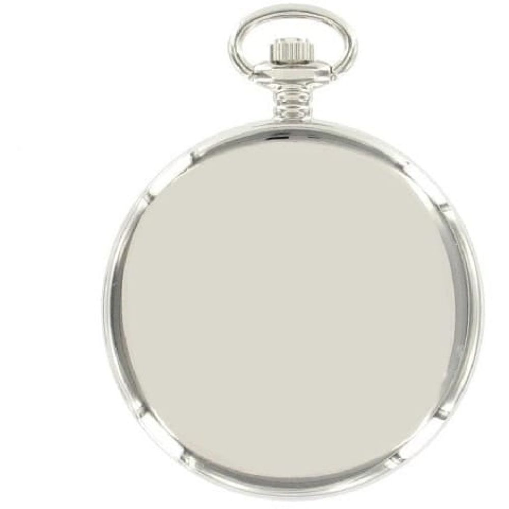 Chrome Plated 17 Jewelled Mechanical Black Face Pocket Watch