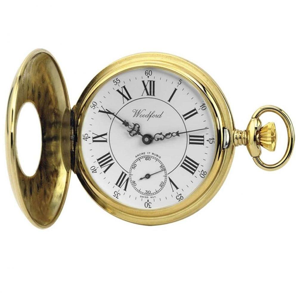 Gold Plated 17 Jewel Swiss Mechanical Half Hunter Pocket Watch 1010
