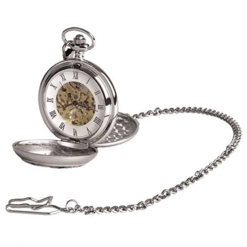 21 Chrome/Pewter Mechanical Double Hunter Pocket Watch