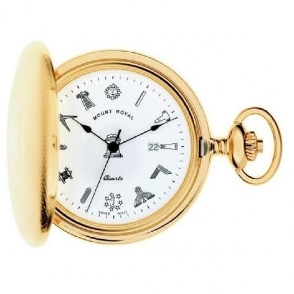 Gold Toned Masonic Engine Turned Quartz Full Hunter Pocket Watch