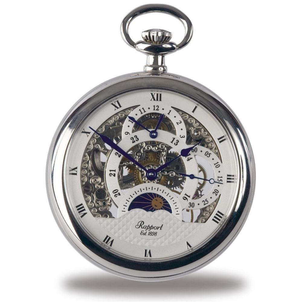 Silver Tone Open Face Mechanical Pocket Watch