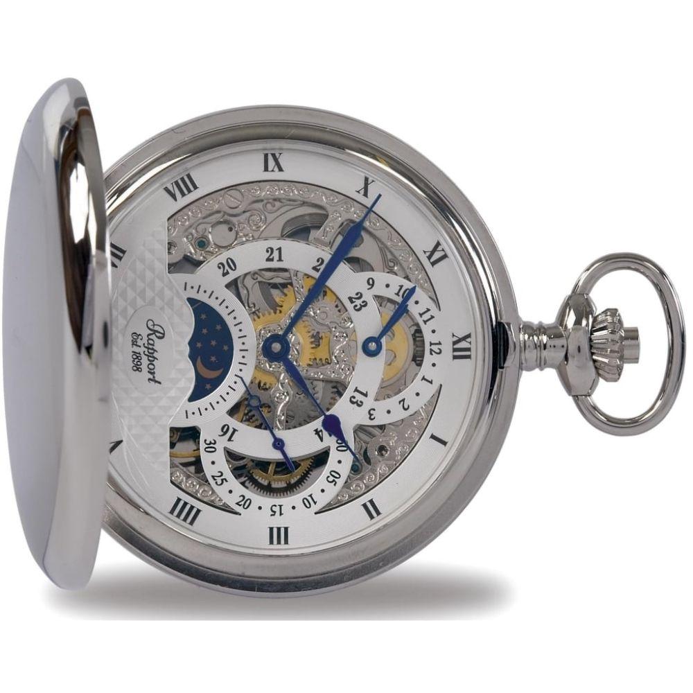 Silver Tone Mechanical Moon Dial Double Hunter Pocket Watch
