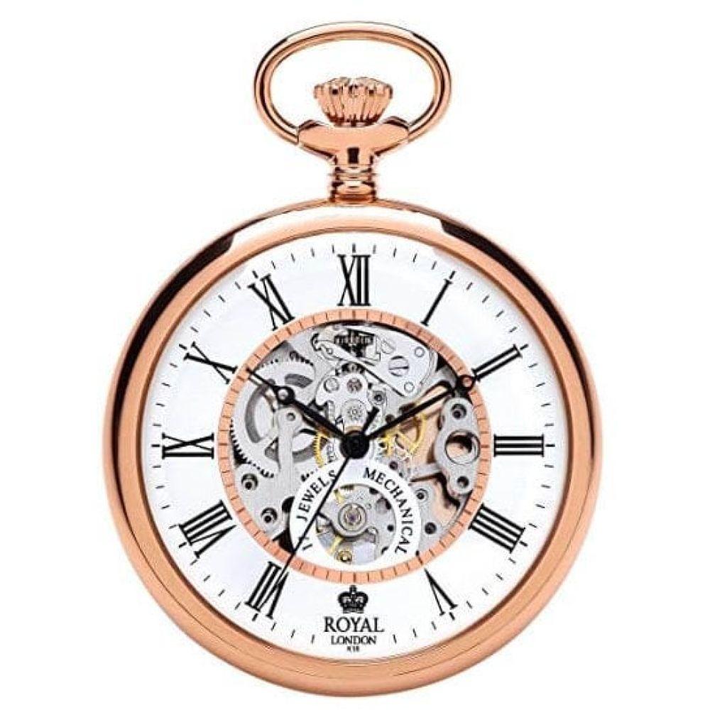 Open Face Skeleton Rose Gold Pocket Watch