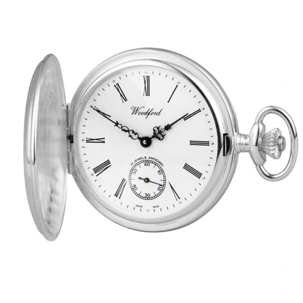 Swiss Sterling Silver Mechanical Full Hunter Pocket Watch