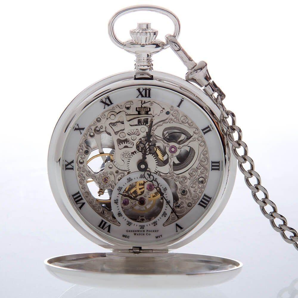The Beaulieu - Sterling Silver Heartbeat Window Double Hunter Pocket Watch