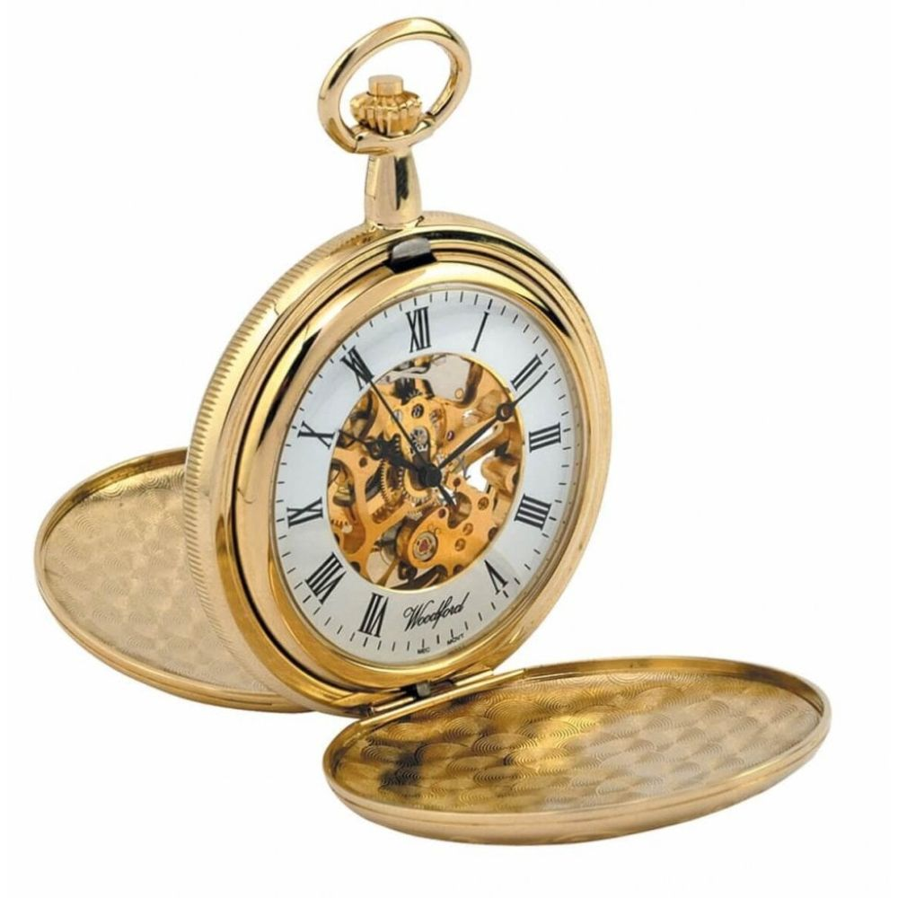 Gold Plated Mechanical Double Hunter Pocket Watch