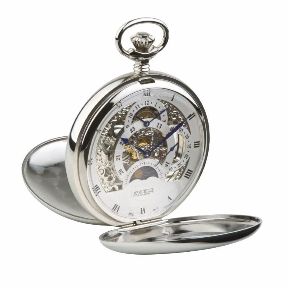 Polished Chrome Double Hunter Dual Dial & Moon dial Pocket Watch