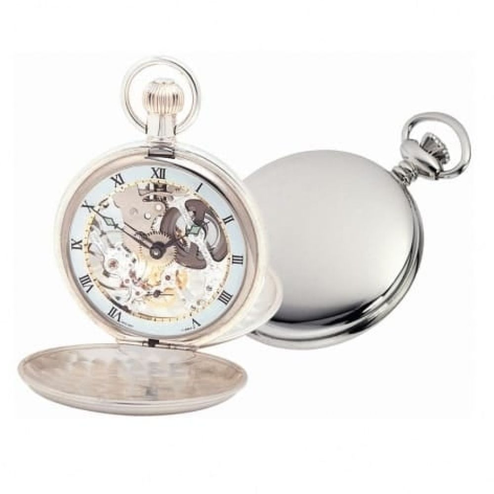 Solid Sterling Silver Swiss 17 Jewel Mechanical Double Hunter Pocket Watch With Chain