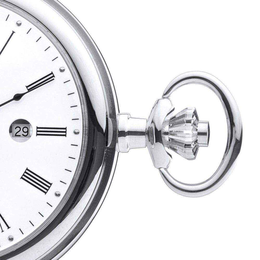 Full Hunter Polished Chrome Quartz Pocket Watch