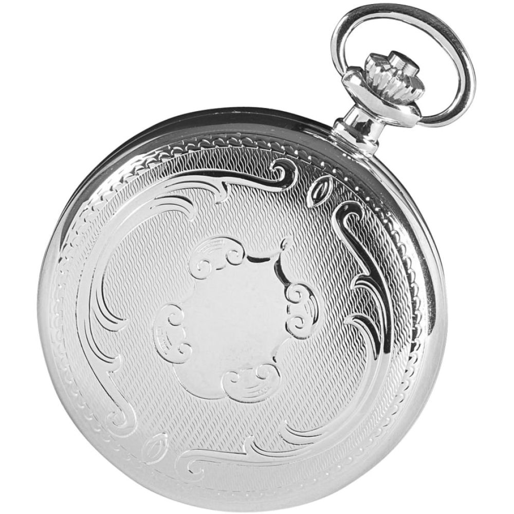 Chrome Plated Full Hunter Mechanical Pocket Watch With Engravable Shield