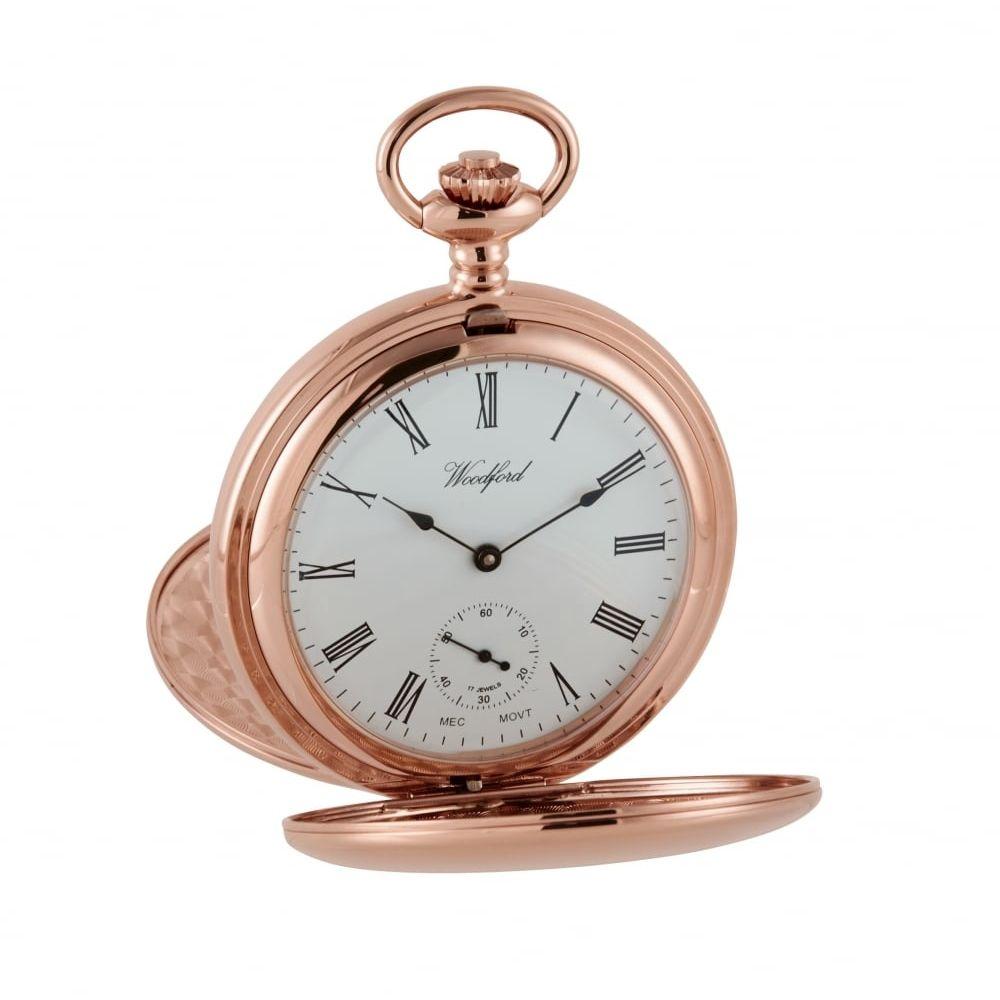 Rose Gold Plated mechanical Twin Lidded Hunter Pocket Watch