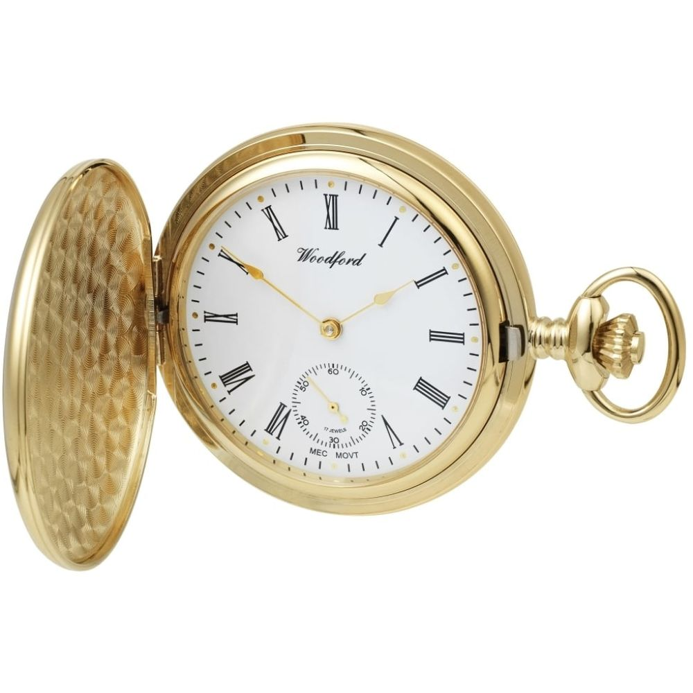 Gold Plated 17 Jewelled Mechanical Full Hunter Pocket Watch