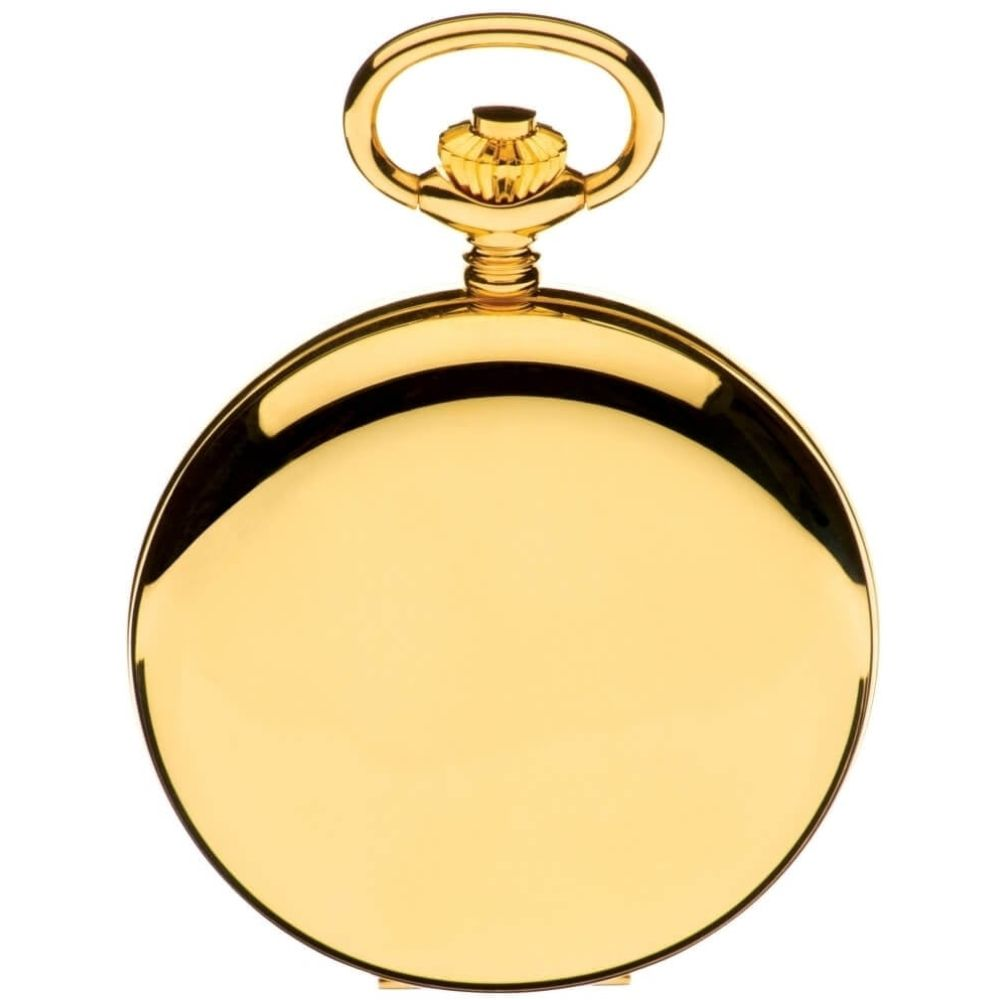 Gold Tone Half Hunter Mechanical Pocket Watch With White Face