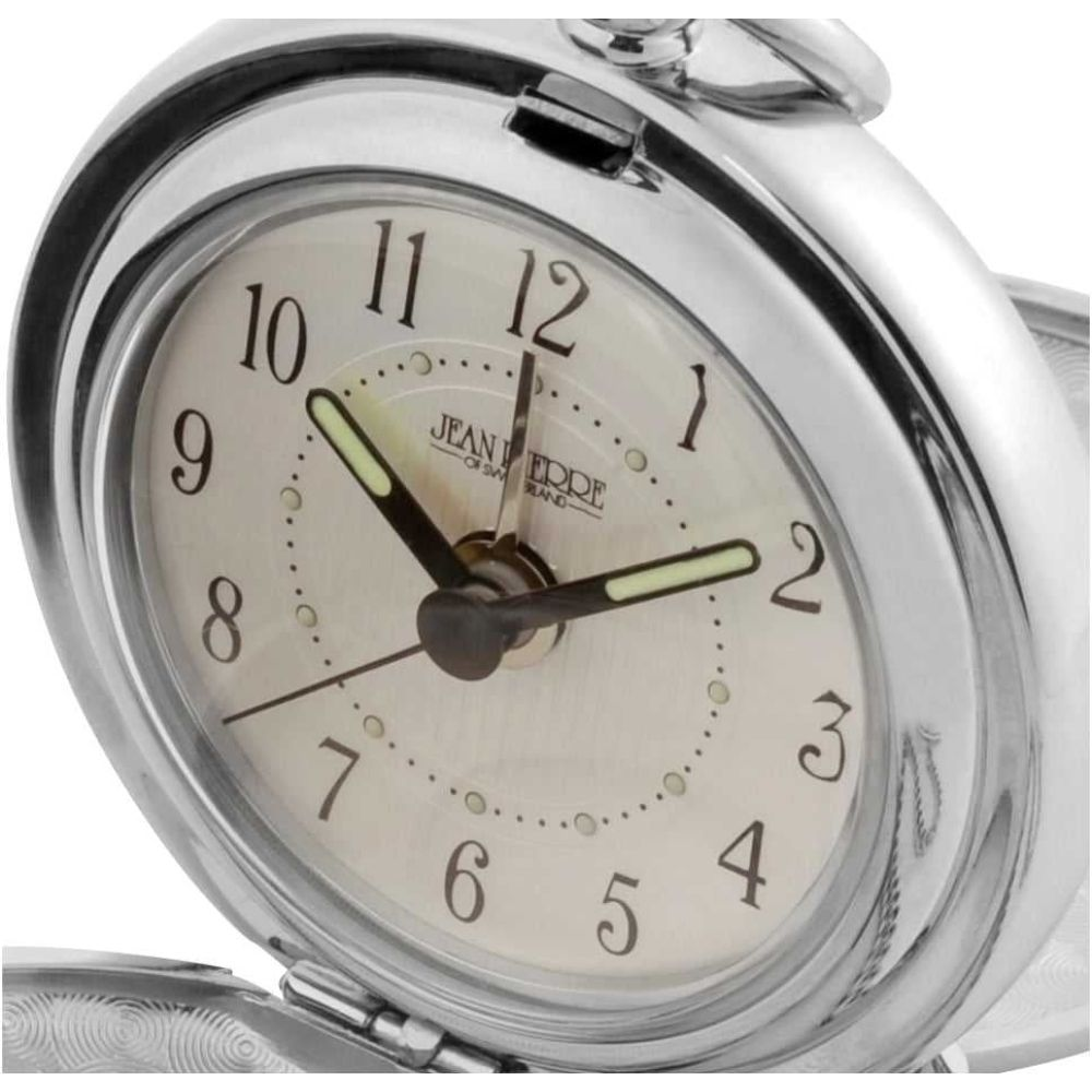 Polished Chrome Double Half Hunter Alarm Pocket Watch With Pouch