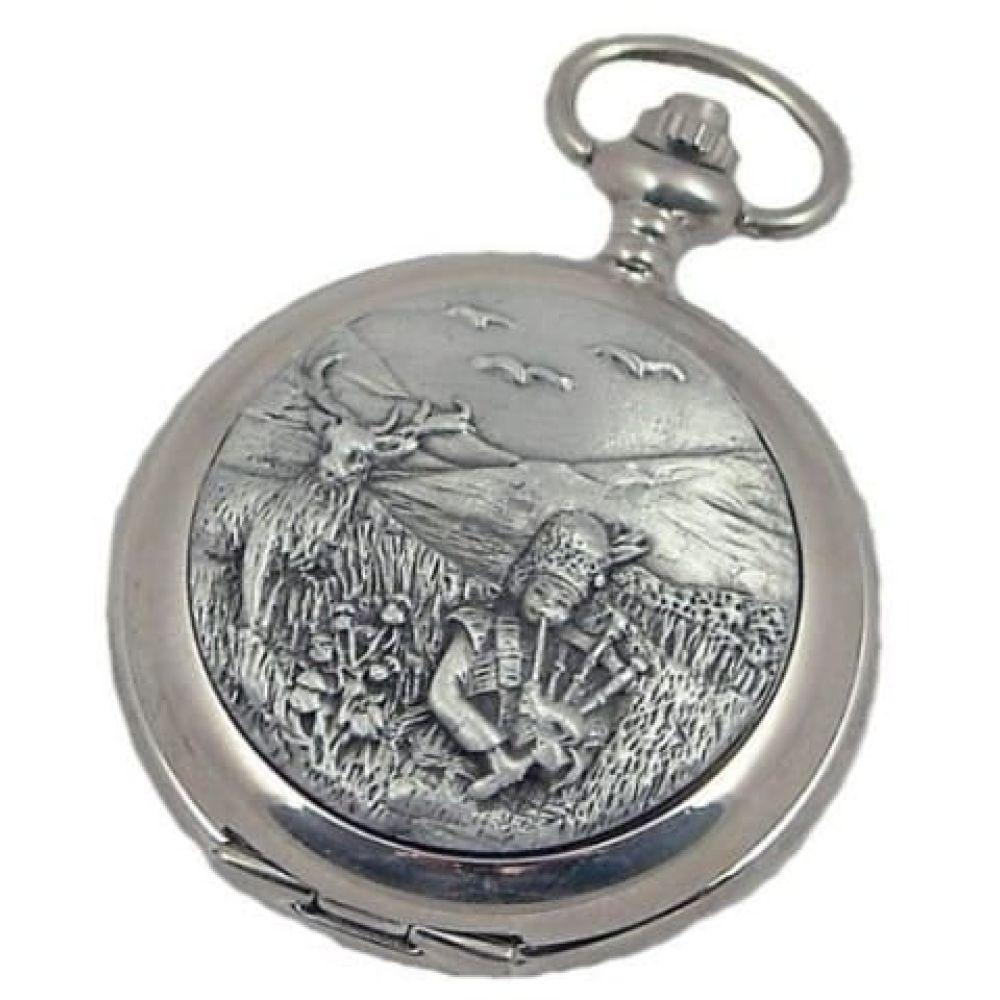Bag Piper Pewter Full Hunter Quartz Pocket Watch