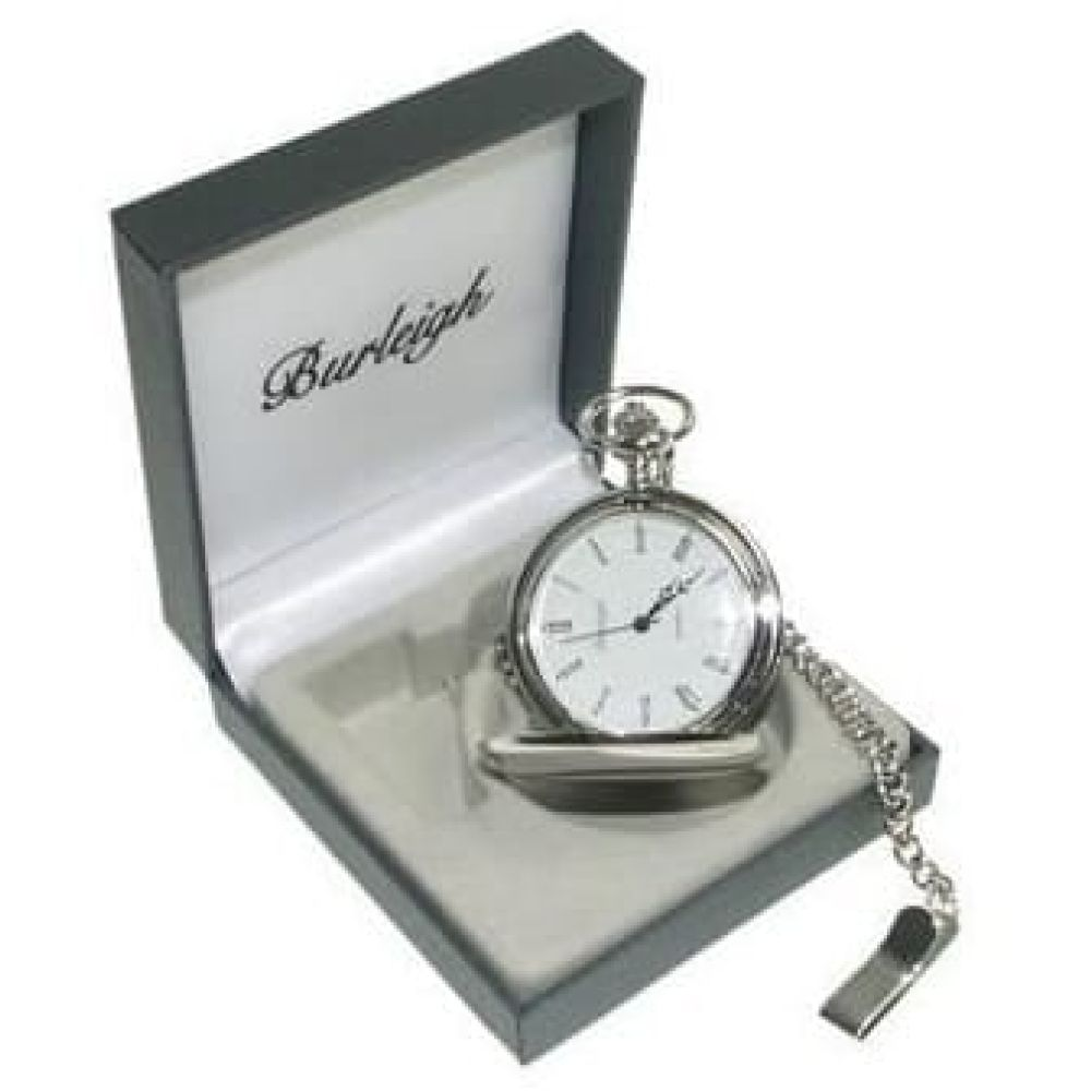 Polished Stainless Steel Full Hunter  Pocket Watch With Chain & Stand