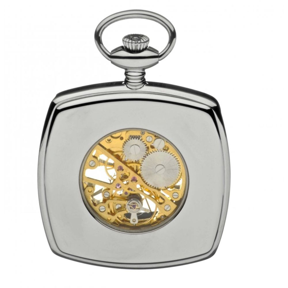 Chrome Polished Two Tone Mechanical Open Face Square Pocket Watch