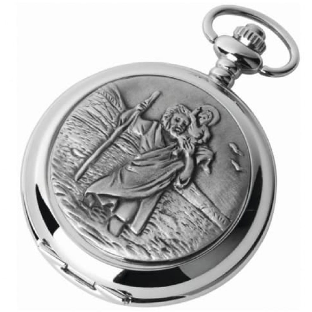 St Christopher Double Hunter Chrome Pewter Mechanical Pocket Watch