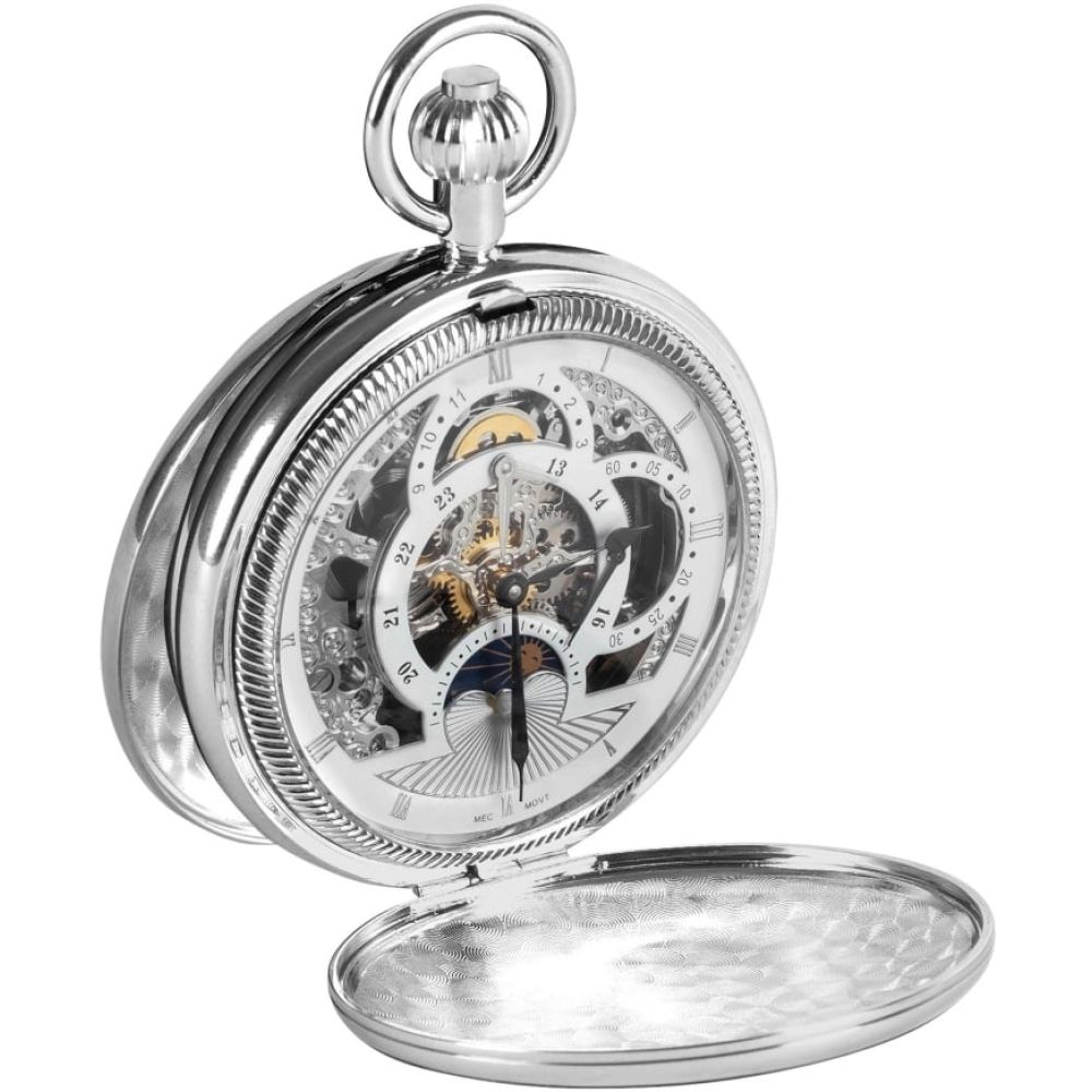 Double Hunter Chrome Plated Moon Dial Pocket Watch