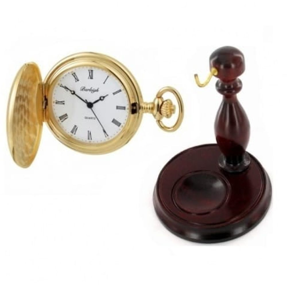 Polished Gold Plated Stainless Steel Full Hunter Pocket Watch With Chain & Stand