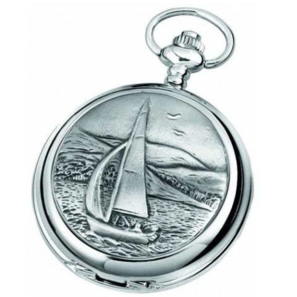 Sailboat Chrome/Pewter Quartz Full Hunter Pocket Watch