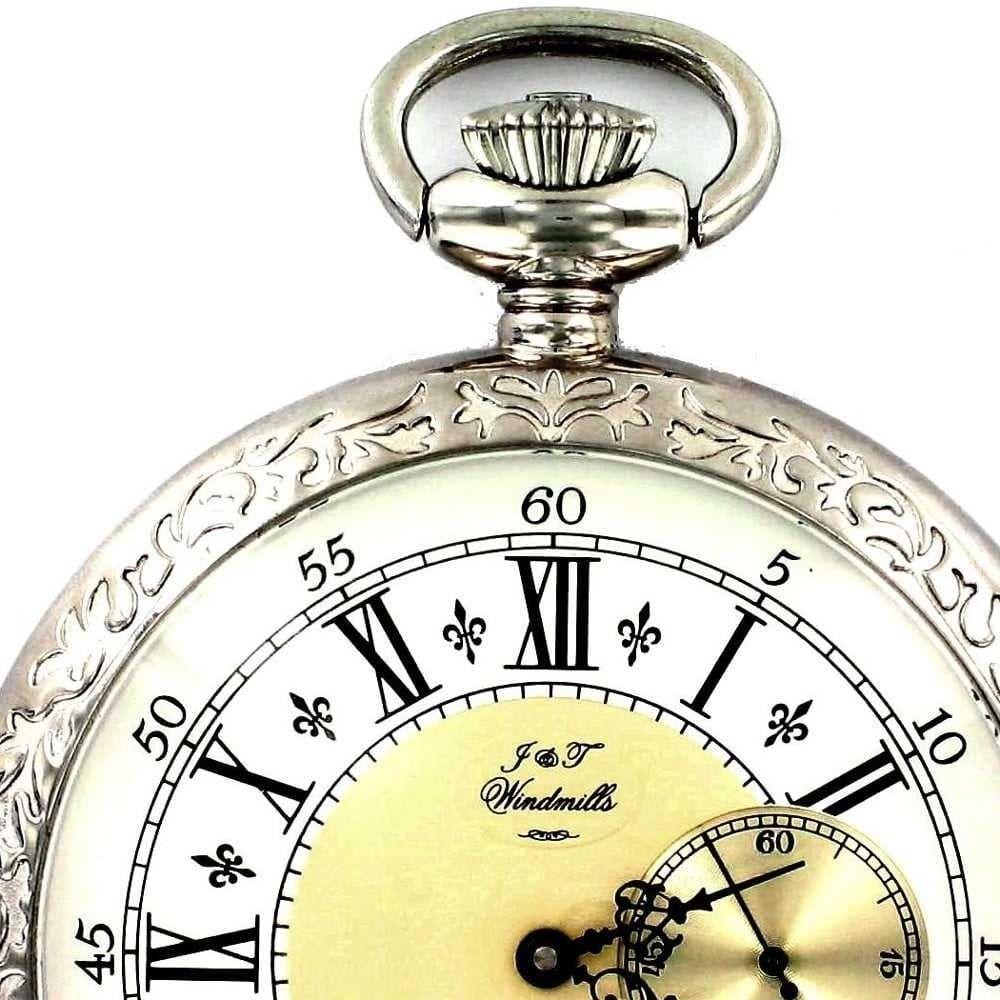 Gents Open Face Patterned Mechanical Pocket Watch