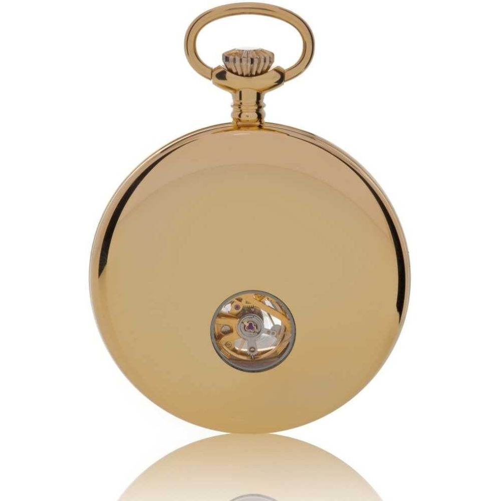 Gold Plated Mechancial 17 Jewel Mechanical Open Face Polished Pocket Watch